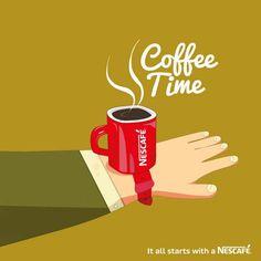 Notre nouvelle montre connectée : l'#iCoffeeWatch, pour ne jamais manquer la pause café. :)