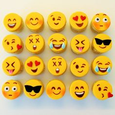 Emoji cupcakes. S fun looking! For any fun occasion - wedd shower, bake sale... bring a little joy to faces n bellies. To try!!