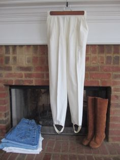 White Vintage Stirrup Pants by BornIn1982 on Etsy, $16.00