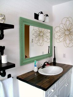 Hate your countertops diy salvaged wood counter cheap and so much more awesome than tile for for Cheap bathroom countertop ideas