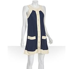 Marc by Marc Jacobs marine blue jersey 'Camille' colorblock dress$179.00 bluefly price retail value $298.00