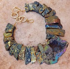 PRISM AGATE DRUZY CRYSTAL BLUE PURPLE GEODE PENDANT STATEMENT NECKLACE JEWELRY
