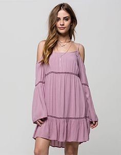 Patrons Of Peace Cold Shoulder Dress Lavender In Sizes from Tilly's. Shop more products from Tilly's on Wanelo. Lace Top Outfits, Dress Outfits, Bridget Satterlee, Angel Outfit, Short Dresses, Summer Dresses, Swimwear Fashion, Rompers Women, Ladies Dress Design