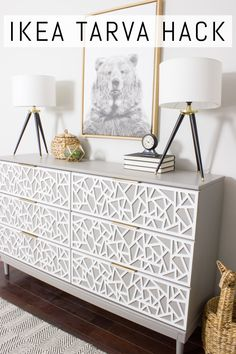 Check out this IKEA TARVA dresser hack! This tutorial shares the step by step pr. - Ikea DIY - The best IKEA hacks all in one place Hack Commode Ikea, Ikea Tarva Dresser, Ikea Drawers, Ikea Dresser Makeover, Dresser Makeovers, Ikea Furniture Makeover, Diy Dressers, Chest Drawers, Ikea Hacks