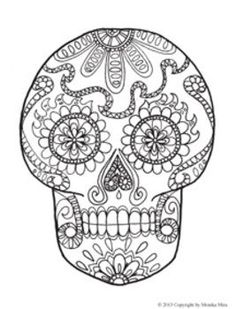 dia de los muertos sugar skull coloring pages for kids by karenme