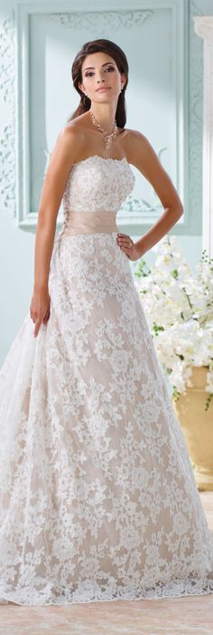 The David Tutera for Mon Cheri Spring 2016 Wedding Gown Collection - Style No. 116219 Yalene #laceweddingdress Más