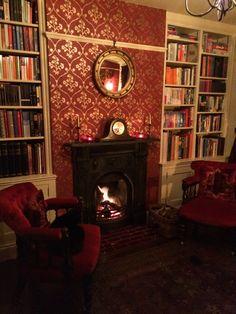 Study. Carron Victorian cast iron fireplace, Little Greene Cranford Cherry Gold wallpaper