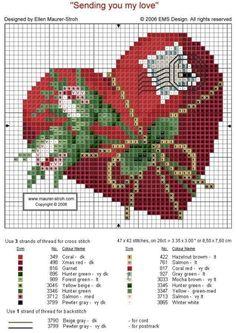 HEART ENVELOPE cross stitch chart. Gallery.ru / Фото #1 - Сердце и марка - DELERJE