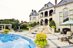 Beautiful and elegant outdoor space. Love the regal French Chateau look.
