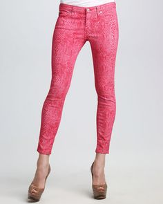 Slither into these Raspberry Legging Snake-Print Jeans by AG Adriano Goldschmied.