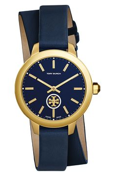 Visit Tory Burch to shop for Collins Double-wrap Watch, Navy Leather gold- tone, 32 Mm and more Womens Collins. Find designer shoes, handbags, ... e38cb6e3fca5