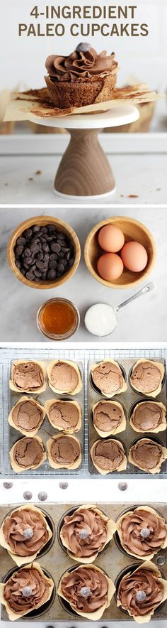 If your next party will feature guests with dietary restrictions these cupcakes are a perfect treat. They are completely dairy-free and gluten-free and they require just four ingredients (coconut oil eggs honey and dairy-free chocolate). Low Carb Dessert, Paleo Dessert, Gluten Free Desserts, Dessert Recipes, Dinner Recipes, Weight Watcher Desserts, Paleo Recipes, Real Food Recipes, Easy Recipes