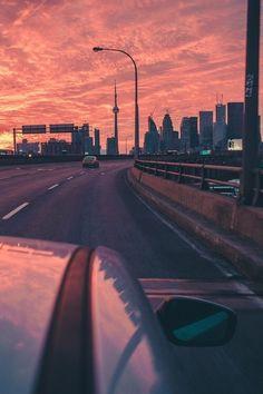 grafika city, car, and sunset