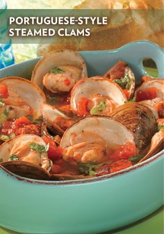 Use St. Ours Clam Broth instead of chicken broth in this recipe and all your seafood recipes! In this Portuguese-Style Steamed Clams recipe, you steam clams in a savory blend of flavorful ingredients to make the perfect seafood dinner! Clam Recipes, Seafood Recipes, Cooking Recipes, Cilantro Recipes, Asian Recipes, Seafood Dinner, Fish And Seafood, Steamed Clams, Portuguese Recipes