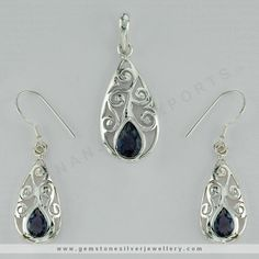 Tear Drop danglers & Pendants Set  This is a popular choice for adorning fine Jewellery. Complete your look with these Tear drop earrings with intricately designed orientations on the Silver base, studded with a pear-cut gemstone at the bottom. Choose from our variety of colored natural gemstones.  We have Ready Stock Silver Jewelry in Jaipur, And Supplies in Wholesale Price. Get A Sample Order only $99 From Jaipur, India. https://www.gemstonesilverjewellery.com/