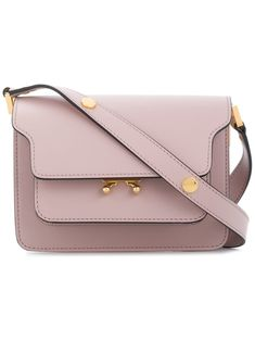 Marni Lilac Trunk Mini Leather Shoulder Bag Neutrals
