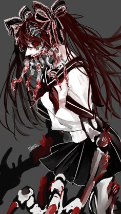 Calne Ca/Calcium Hatsune Miku Bacterial Contamination Dieno (Not mine) Sad Anime, Anime Art, Vocaloid, Mystical Creatures Drawings, Beautiful Dark Art, Gothic Anime, Fanart, Creepy Art, Monster Girl