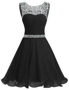 Dresstells® Short Chiffon Open Back Prom Dress With Beading Homecoming Dress Black Size 10