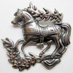 VINTAGE MEXICO STERLING 925 LARGE HORSE PIN WITH COPPER ACCENTS