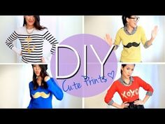 DIY Mustache & Cute Printed Sweaters or T-shirts {Easy} How to Make