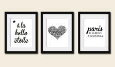 French Print, Audrey Hepburn Quote, Set of 3, Romantic, Art, Home Decor, Black and White, A La Belle Etoile, Paris is Always a Good Idea