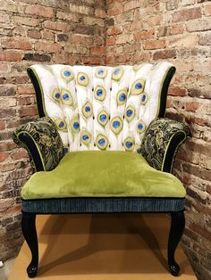 Beautifully hand painted and hand stitched feathers, this petite Peacock Chair makes a perfect canvas to create colorful Peacock feathers. Purple Dining Chairs, Funky Chairs, Round Back Dining Chairs, Dining Room Table Chairs, Cool Chairs, Ikea Chairs, High Chairs, Love Chair, Chair Bed