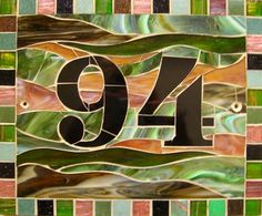 House Number Sign - stained glass and glass tiles