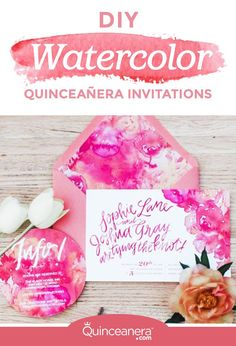 4adac1b757844 DIY Watercolor Quinceanera Invitations to Stun Your Guests