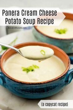 Potato Soup Cream Cheese, Potato Soup Panera, Homemade Potato Soup, Best Potato Soup, Recipe For Potato Cheese Soup, Recipes Using Cream Cheese, Cream Soup Recipes, Chicken Soup Recipes, Easy Soup Recipes