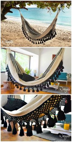 4 Stylish, Easy And Cozy Diy Hammock Stand Ideas For The Beginners - Crafts Zen Diy Hammock, Indoor Hammock, Hammock Swing, Hammock Chair, Hammock Ideas, Hammocks, Crochet Hammock Diy, Bedroom Hammock, Portable Hammock