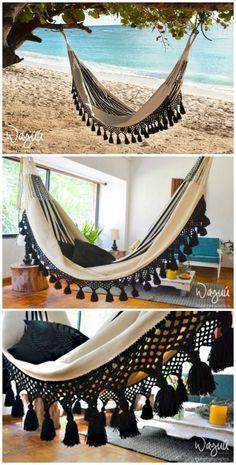 4 Stylish, Easy And Cozy Diy Hammock Stand Ideas For The Beginners - Crafts Zen Crochet Hammock, Diy Hammock, Indoor Hammock, Hammock Swing, Hammock Chair, Hammock Ideas, Hammocks, Bedroom Hammock, Camping Hammock