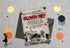 Halloween Party Invitation - THE WALKING DEAD #walkingdead #zombie