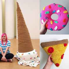 I really need to move this ice cream cone so I'm offering a freebie with it. If you purchase this cone you will also get a free 12 inch donut or a free 12 inch pizza pillow. Your choice of colors or toppings. The cone comes unstuffed. It has a zipper on the bottom where you stuff it from. The stuffing can be purchased at craft stores for about $20. US shipping on this large of an order is $30. #crochet #crochetersofinstagram #crochetconcupiscence #etsy #etsyfinds #colorful #friday…