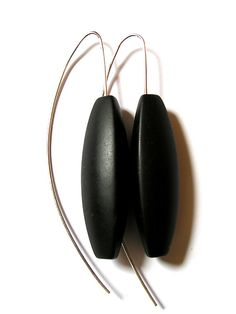 Black Onyx Tri-Sided Earrings Silver & Stone Earrings - by Claudia Endler