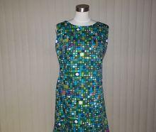 1950s / 1960s Atomic Design Blue Green Cotton Dress