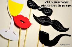 photo booth printable glass, bow and ties props 2015 new years - new years party ideas, holiday crafts #2015 #new #year #party