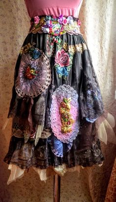 RESERVED Bohemian Upcycled skirt boho chic gypsy fairy skirt