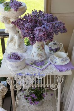 Country Cottage - Purple Lilacs & White Lace & Wicker... Tea Time