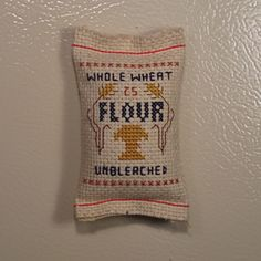 Whole Wheat Flour Sack Magnet | Cross Stitch - My Work - Old School N ...