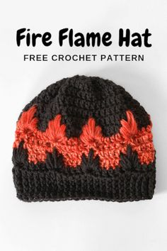 Fire Flame Hat - free crochet hat pattern for kids toddlers tweens adults Crochet Mittens Free Pattern, Crochet Kids Hats, Crochet Cap, Crochet Beanie, Crochet Gifts, Double Crochet, Crochet Stitches, Free Crochet, Crochet Patterns