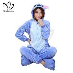 f4fb304d68 Wholesale Unicorn Stitch Panda Unisex Flannel Hoodie Pajamas Costume  Cosplay Animal Onesies Sleepwear For Men Women
