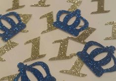 Royal Little Prince Crown any age confetti table decor scatter on tables, in invitations or around centerpieces. Any age and color available