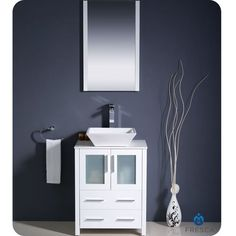 "Found it at Wayfair - Torino 24"" Single Modern Bathroom Vanity Set with Mirror  with shiplap behind it"