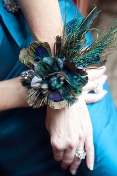 Mother of the bride wristlet - peacock, teal and charcoal + special locket picture of the bride!