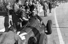Now we are into the Formula One world championship era. Pit stops take mere seconds today but back in 1950, it's all calm as Juan Manuel Fangio takes a break on the side of the circuit in his Alfa Romeo. The grand prix ran the course of three hours and 13 minutes making it the longest Monaco Grand Prix in the history of the championship. The race time, 100 laps or the skinny tyres won't be back any time soon...