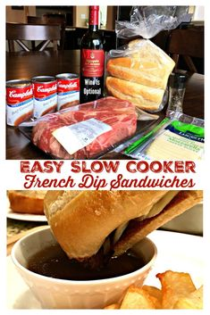 EASY SLOW COOKER FRENCH DIP SANDWICHES - Chuck roast slow cooked in beefy broth until tender, served on a french roll with ooey gooey melted cheese with a fantastic side of au jus for dipping. Crockpot Dishes, Crock Pot Slow Cooker, Beef Dishes, Slow Cooker Recipes, Beef Recipes, Cooking Recipes, Crockpot Meals, Chicken Recipes, Slow Cooker Roast