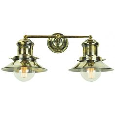 Nautical Wall Light in Solid Brass with Antique Finish and Amber Bulbs