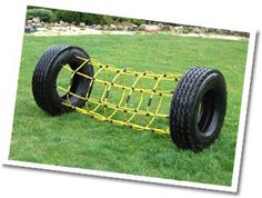 Cargo Net Tire Tunnels - bright, fun and new tire playground products. (We have tires coming out of our ears!)
