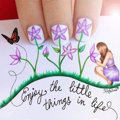 'Enjoy the little things in life' I am so so sorry for taking forever to post my nails! I had this creative idea but it didn't work out s...