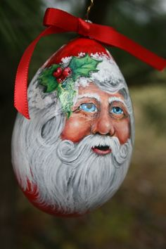 Let's be candid. A red Santa Claus egg gourd Christmas ornament hand painted by sherrylpaintz. Decorative Gourds, Hand Painted Gourds, Hand Painted Ornaments, Handmade Ornaments, Handpainted Christmas Ornaments, Santa Ornaments, Santa Paintings, Christmas Paintings, Christmas Art